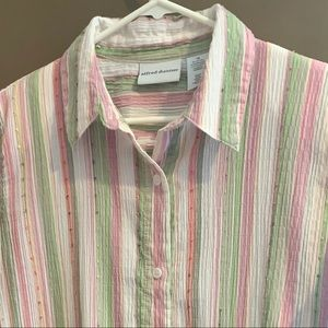alfred dunner pink and green button up shirt sz 16